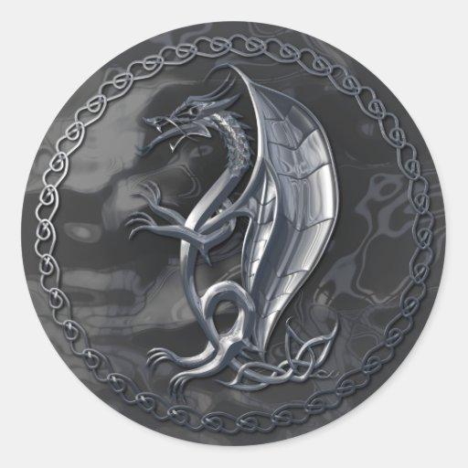 Silver Celtic Dragon Sticker