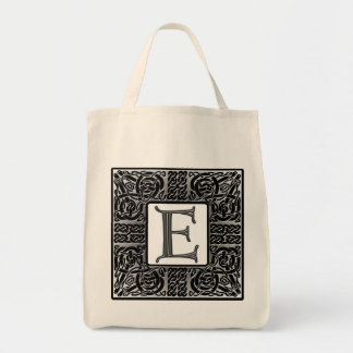 "Silver Celtic ""E"" Monogram Tote Bag"