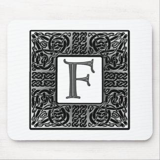 "Silver Celtic ""F"" Monogram Mouse Mat"