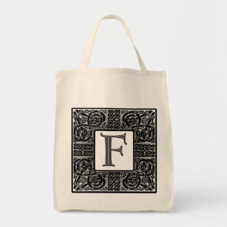 "Silver Celtic ""F"" Monogram Tote Bag"
