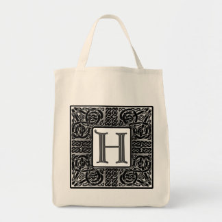 "Silver Celtic ""H"" Monogram Tote Bag"