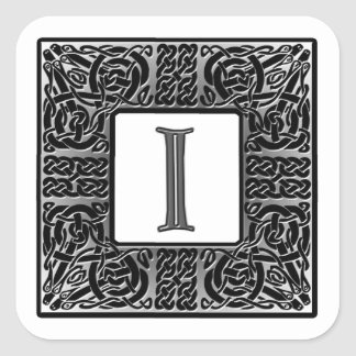 "Silver Celtic ""I"" Monogram Square Sticker"