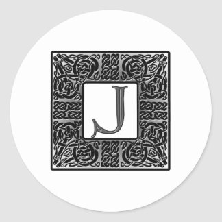 "Silver Celtic ""J"" Monogram Round Sticker"