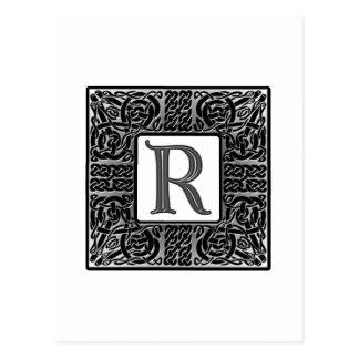 Silver Celtic R Monogram Post Card