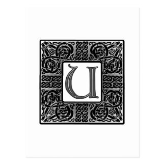 Silver Celtic U Monogram Postcards