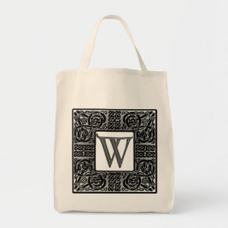 "Silver Celtic ""W"" Monogram Tote Bag"