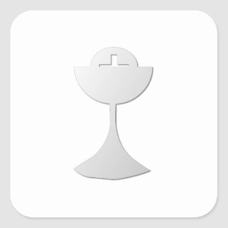 Silver Chalice and Host Square Sticker