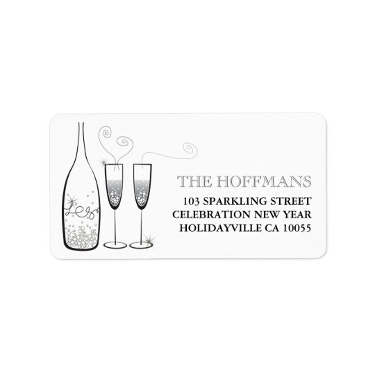Silver Champagne Cheers Holiday Address Labels