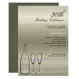 Silver Champagne Milestone Birthday Party Invite