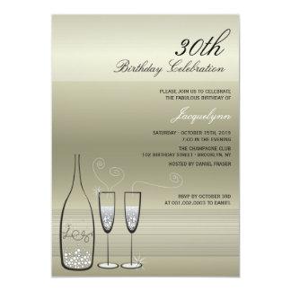 """Silver Champagne Milestone Birthday Party Invite 5"""" X 7"""" Invitation Card"""