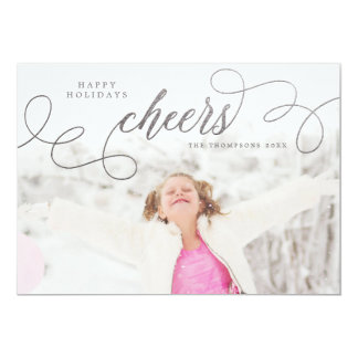Silver Cheers Christmas Photo Greeting Cards 13 Cm X 18 Cm Invitation Card