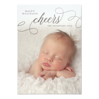 Silver Cheers Script Overlay Photo Greeting Cards 13 Cm X 18 Cm Invitation Card