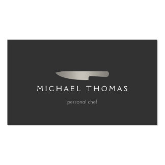 Silver Chef Knife Logo 2 for Catering, Restaurant Pack Of Standard Business Cards