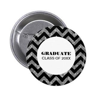 Silver Chevron Glitter Graduation Button