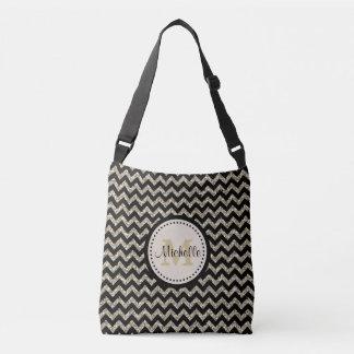 Silver Chevron Pattern Gold Monogram Tote Bag