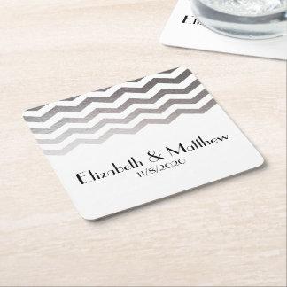 Silver Chevron Wedding Favor Coaster Square Paper Coaster