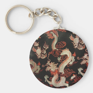 Silver Chinese Dragon Basic Round Button Key Ring