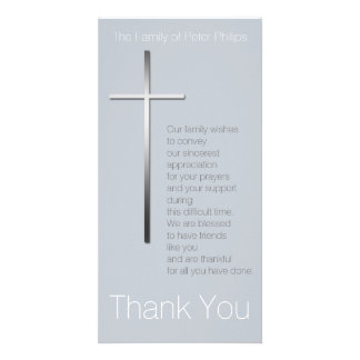 Silver Christian Cross Sympathy Thank you choose C Card