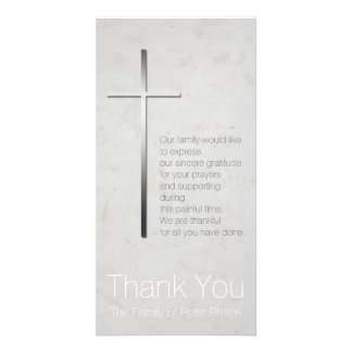 Silver Christian Cross Sympathy Thank You Personalised Photo Card