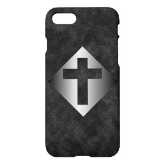 Silver Christian Religious Cross on Black iPhone 7 Case