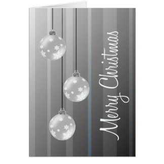 Silver Christmas Balls & Stripes Merry Christmas Greeting Card
