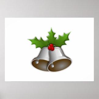 Silver Christmas Bells Print