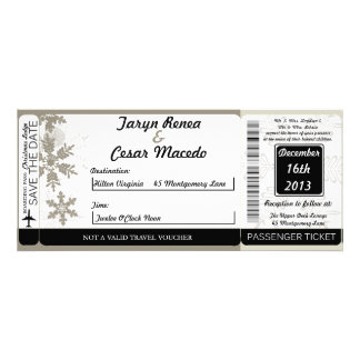 Silver Christmas Boarding Pass Wedding Invitation