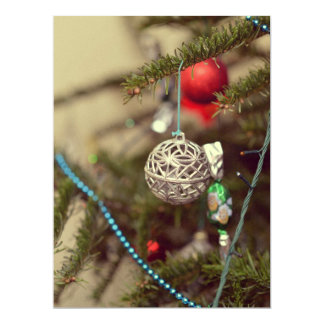 Silver Christmas ornament Personalized Announcements