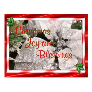 Silver Christmas Poinsettia Postcard customize