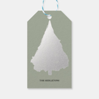 Silver Christmas Tree Modern Holiday Gift Tags
