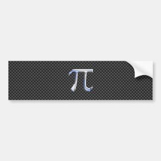 Silver Chrome Like Pi Symbol on Carbon Fiber Print Bumper Sticker