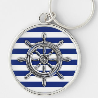 Silver Chrome Wheel on Nautical Stripes Silver-Colored Round Key Ring