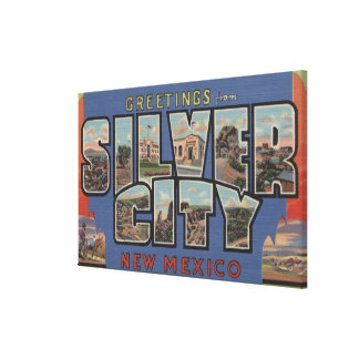Silver City, New Mexico - Large Letter Scenes Canvas Print