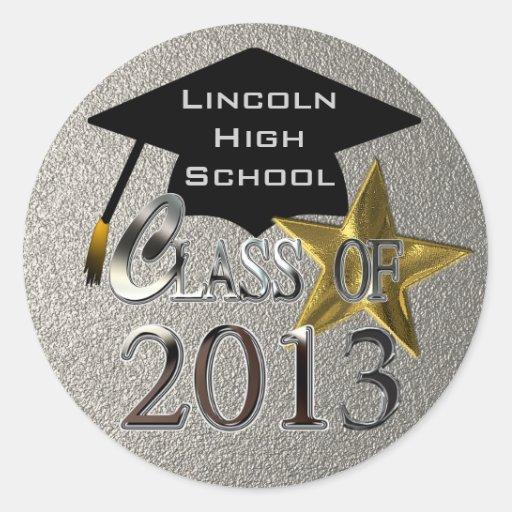 Silver Class Of 2013 Graduation Seal Sticker