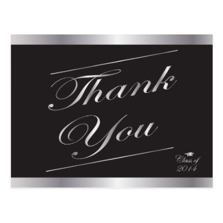 Silver Class of 2014 Graduation Thank You Postcard