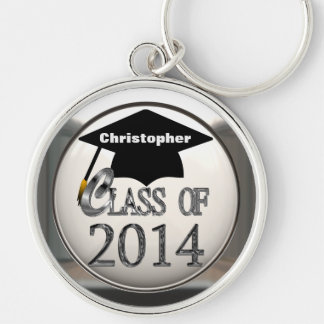 Silver Class Of 2014 Premium Large Keychain