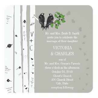 Silver Cloud Birch Vintage Birds Wedding Invite