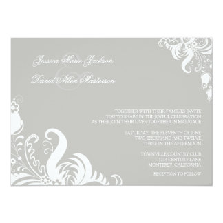 Silver Cloud Floral Accent Wedding Invitation