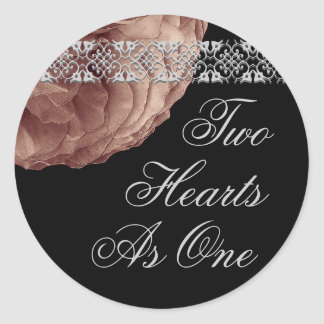 Silver & Cocoa  Rose & Lace - Two Hearts As One Round Sticker