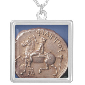 Silver coin of Philip II of Macedon Silver Plated Necklace