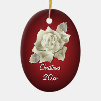 Silver Color Rose on Dark Red Personalized Holiday Christmas Ornament
