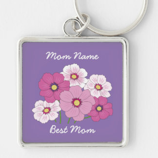 Silver-Colored Best Mom Keychain w/ Cosmos Flowers