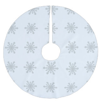 Silver Colored Snowflakes on Icy Pastel Blue Brushed Polyester Tree Skirt