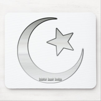 Silver Colored Star and Crescent Symbol Mouse Pad