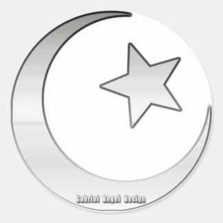 Silver Colored Star and Crescent Symbol Round Sticker