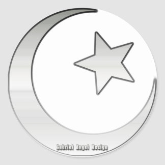 Silver Colored Star and Crescent Symbol Stickers