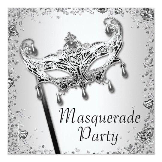 Silver Confetti Black White Masquerade Party Card