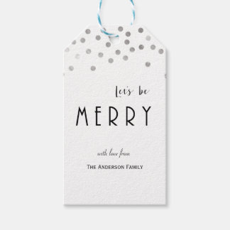 Silver confetti Christmas gift tags