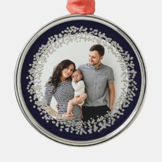 Silver confetti circle photo ornament faux foil