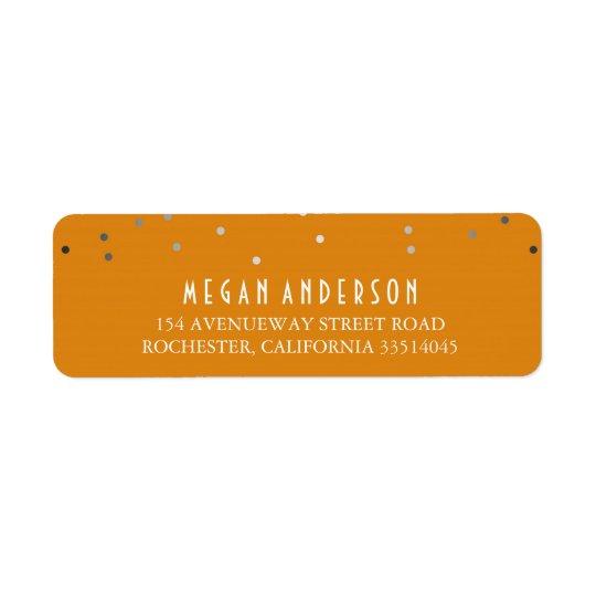 Silver Confetti Classy Orange Wedding Return Address Label